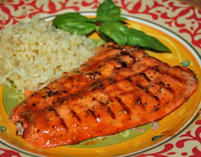 Coho Salmon grilled with a chile honey mustard glaze-delish!