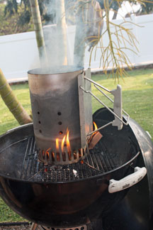 Grilling tip on starting the fire-use a chimney starter