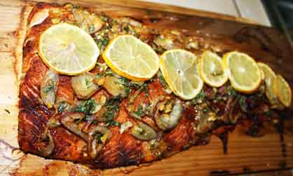 Cedar planked salmon on grill